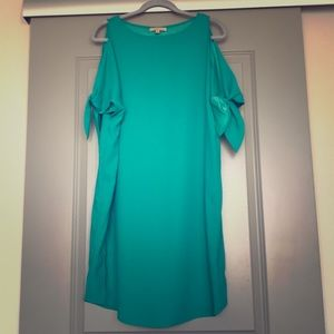 Aqua Blue Shealth Dress  w/Cold Shoulder Sleeves
